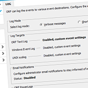 Log settings page in the Administration Tool
